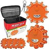 MARCALA LED Road Flares | LED Emergency Lights Vehicles | Car Emergency Kit | LED Safety Flare Kit w Batteries - Carry-Case - Screwdriver Tool Extra Battery Set | Best Gift Drivers
