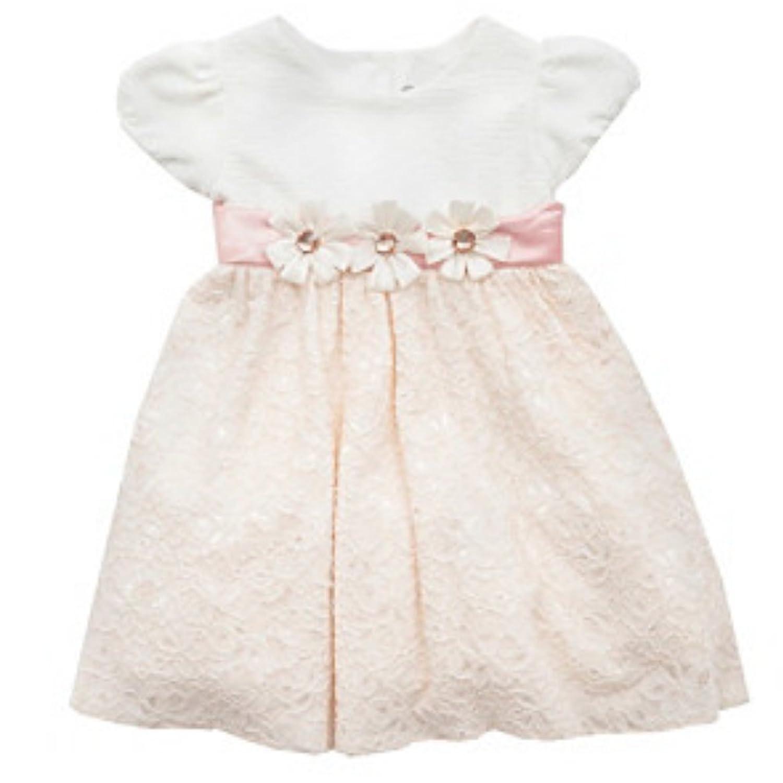Rare Editions Baby Mädchen Princess Petticoat Rüschen Kleid weiß rosa + Unterhose Glanzstein Blumen
