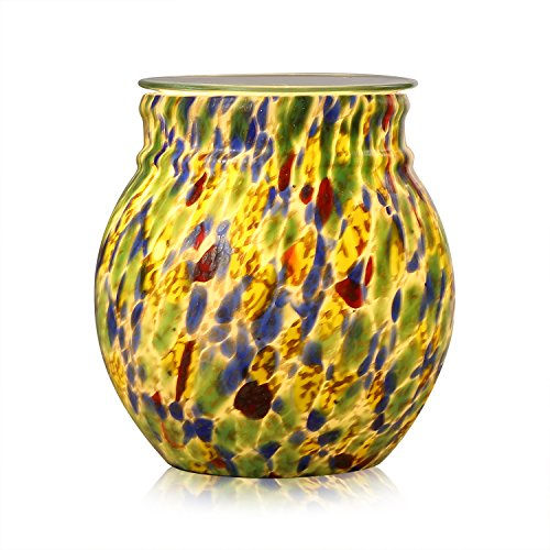 COOSA Colorful Glass Electric Oil Warmer or Wax Tart Burner Night Light Aroma Decorative Lamp for Gifts & Decor (Green & Blue & Yellow)