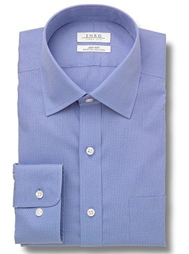 Enro Men's Big & Tall Non Iron Dogbone Spread Collar Dress Shirt - Medium Blue - 17.5 x 38/39