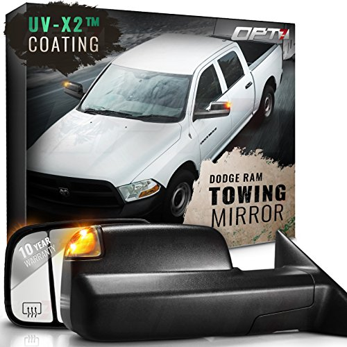 OPT7 Deluxe Pair Truck Towing Trailer Mirrors for 2009-2012 Dodge Ram 1500/2500/3500 - Powered Heated Turn Signals Adjustable Foldable Puddle Light DOT Approved - 60-Day Warranty
