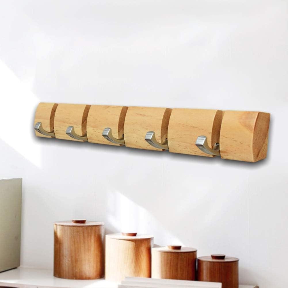 LZDseller01 Porte-Manteau Mural Pliable en Bois pour Porte Manteau Chapeau en Alliage de Zinc 48 x 5,3 x 3 cm Taille Unique caf/é Pas de z/éro