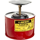 """Justrite 10208 2 Quart, 7.25"""" H, 7 3/8"""" O.D, Premium Coated Steel Plunger Can with Brass and Ryton Pump Assembly"""