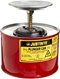 Justrite 10208 2 Quart, 7.25'' H, 7 3/8'' O.D, Premium Coated Steel Plunger Can With Brass And Ryton Pump Assembly