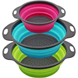 Qimh Collapsible Colander Set of 3 Round Silicone Kitchen Strainer Set - 2 pcs 4 Quart and 1 pcs 2 Quart- Perfect for Draining Pasta, Vegetable and fruit (green,blue, purple)