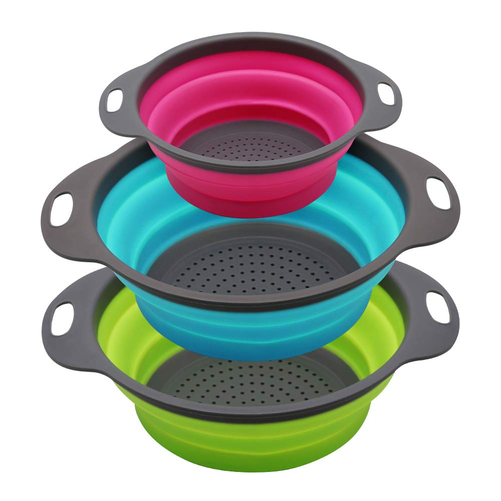Qimh Collapsible Colander Set of 3 Round Silicone Kitchen Strainer Set - 2 pcs 4 Quart and 1 pcs 2 Quart- Perfect for Draining Pasta, Vegetable and fruit (green,blue, purple) by QiMH