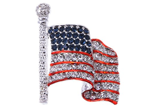 Patriotic Jewelry (Alilang Silver Tone Crystal Rhinestone 4th of July American USA Flag Patriotic Pin Brooch, Flag)