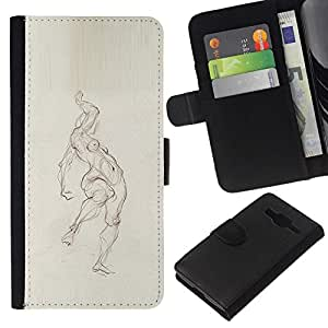 All Phone Most Case / Oferta Especial Cáscara Funda de cuero Monedero Cubierta de proteccion Caso / Wallet Case for Samsung Galaxy Core Prime // Pencil Woman Figure Body