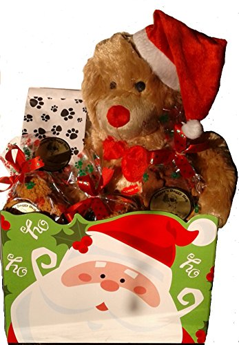 Jagger's Doggy Deli Christmas Pet Dog Gift Basket with Plush Santa Bear