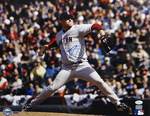 Curt Schilling Signed Boston Red Sox 16x20 Pitching Motion Photo with Steiner Seal/JSA/AAA Auth