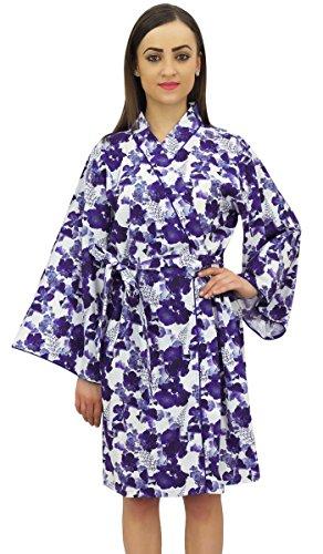 floreale kimono stampata cotone 54 di Donne damigelle popeline corta Wrap Bimba xqw1Y6Sx