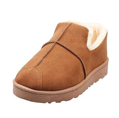 Dehots Damen Stiefel Stiefeletten Winterstiefel Kurzschaft Schlupfstiefel  Schneestiefel Plüsch Schuhe Warme Gefütterte Boots Winter mit Fell 16b01a6217