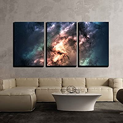 Professional Creation, Astonishing Print, Star Field in Deep Space Many Light Years Far from The Earth x3 Panels