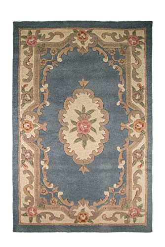 Small Traditional Classic Aubusson Floral 100% Wool Hand Tufted Chinese Rug, Blue - 75 x 150cm by eRugs ()