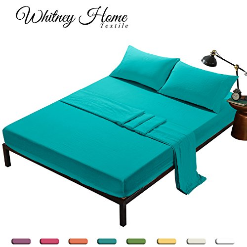 4 Pieces Hotel Quality Super Soft Stone Washed Microfiber Bed Sheet Set (1 Deep Pocket Fitted Sheet, 1 Flat Sheet, 2 Pillowcases) Fade Stain Resistant Solid Bedding King Aqua - Soft Surroundings Skirt