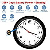 WiFi Security Camera Clock Fuvision Battery Camera Wall Clock with Adjustable Camera Lens, 365 Days Battery Life, Remote Live View, Motion Detect, Loop Record Covert Cam for Home Security(Video Only!)