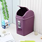 Bedroom/Living Room/Toilet/Plastic Trash Can, Kitchen/WC Creative Waste Trash Container/Black/Brown/Purple Beautiful and durable (Color : Purple)