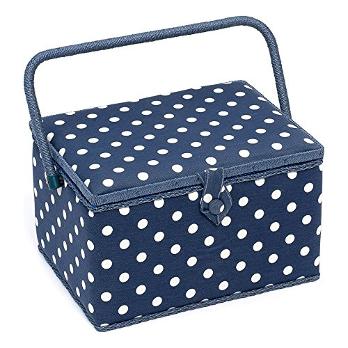 Sewing-Online MRL/32 White Polka Dot Print on Navy Large Sewing Box 23.5x31x20cm by Sewing-Online