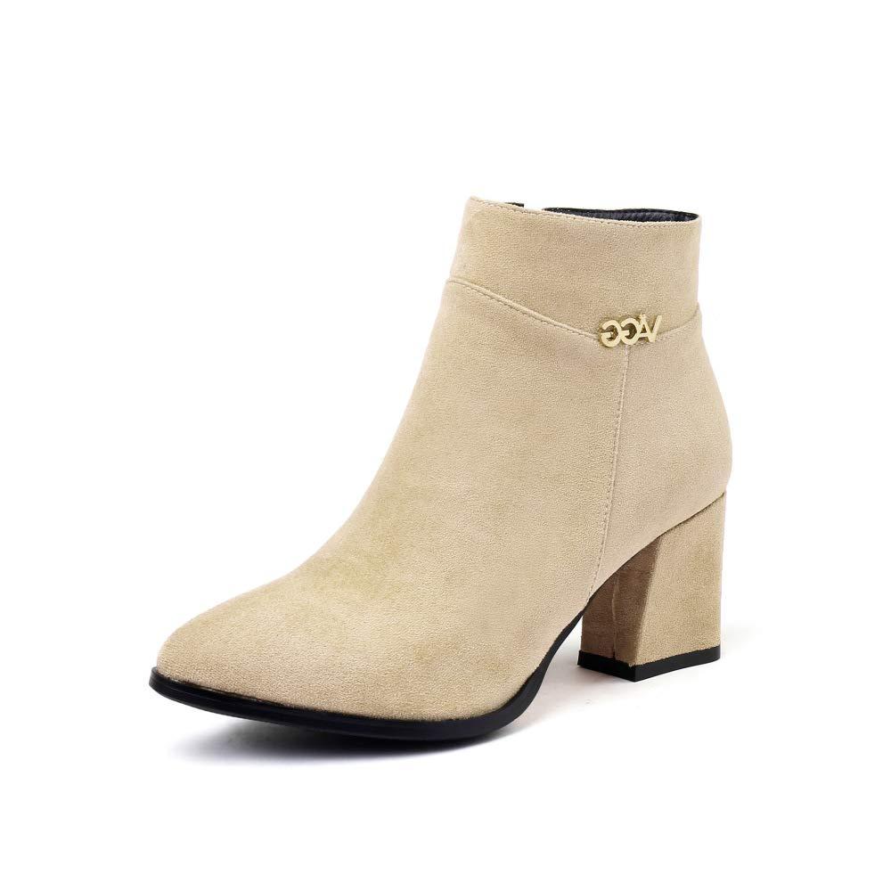SHINIK Frauen Wildleder Stiefeletten 2018 Herbst Winter High-Heel-Reißverschluss Martin Stiefel Stiefel Stiefel Größe 32-43 ab2f68