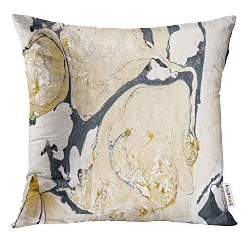 Velvet Acrylic Painting - Golee Throw Pillow Cover Black Acrylic Gold Marble Ink Abstract Painting Beautiful Colorful Bronze Drop Decorative Pillow Case Home Decor Square 18x18 Inches Pillowcase