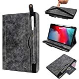 Boozuk Case for iPad Pro 12.9 Case, [Support Apple Pencil Charging] Premium Leather Folio Stand Wallet Case Smart Cover with Pocket, Card Slot for iPad Pro 12.9 Inch 3rd Gen Tablet 2018, Grey