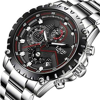 LIGE Relojes de los Hombres de la Moda de Acero Completo de Cuarzo Analógico Reloj de Pulsera de los Hombres de Lujo de la Marca Impermeable Cronógrafo de Plata Reloj de Fecha de Vestir de Negocios Reloj Gent Casual Balck Reloj Hombres Relojes Relojes de Pulsera Ropa, Zapatos y Joyería