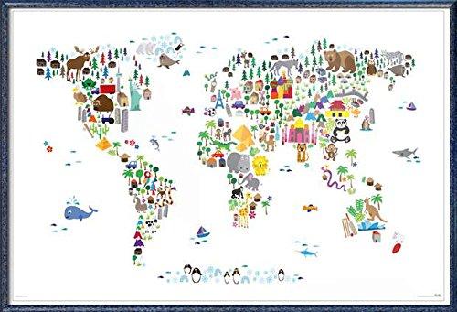 Animal Kingdom Map Of The World - Framed Art Poster / Print
