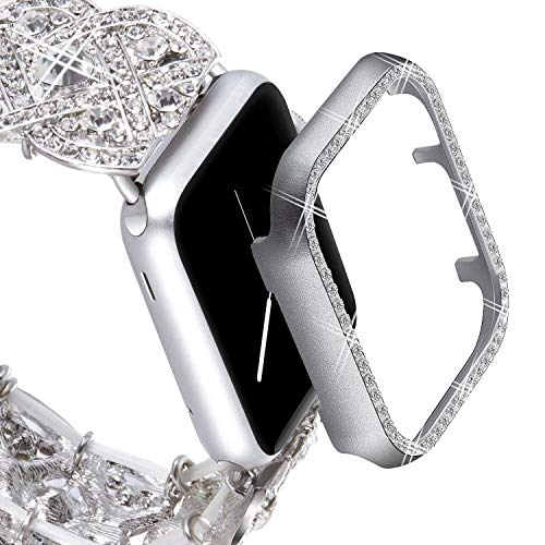 Band Fashion Wrist Watch - VIQIV Bling Protective Face Bumper Case Cover for Compatible with Apple Watch 38mm 42mm 40mm 44mm, Crystal Diamond Plate Frame Compatible with Apple iWatch Series 4 3 2 1 Silver