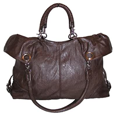 Fold-over Braided Handbag (Brown)