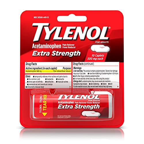 (TYLENOL Extra Strength Pain Reliever Caplets, Travel Size Medicine with Acetaminophen 500 mg for Fast Acting Pain and Headache Relief, 10 ea (Pack of 2))