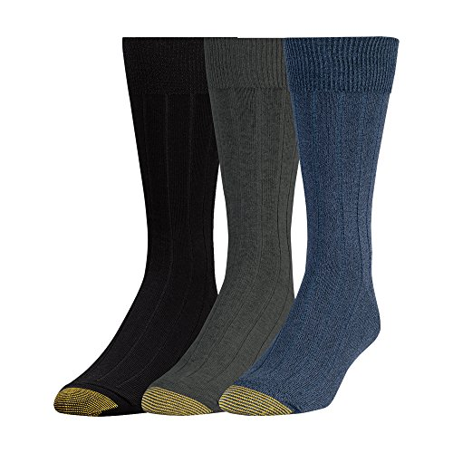 Gold Toe Men's Hampton Sock, 3 Pack, Denim/Charcoal/Black, Sock Size: 10-13/Shoe Size:9-11