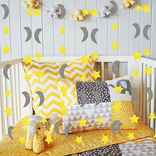 Furuix Yellow Grey Elephant Baby Shower Decorations Moon and Star Garland Decorations for Yellow Birthday Party Decor/Elephant Gray and Yellow Nursery Decorations ()