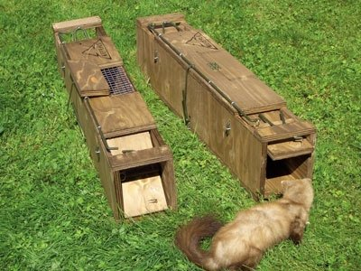 Kieferle Marderfalle Holzfalle Kastenfalle Marder Katze Iltis Kaninchen Waidmann