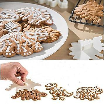 Y & XL & H 3pcs Dino fósiles cortadores de galletas pastel molde para tartas herramientas