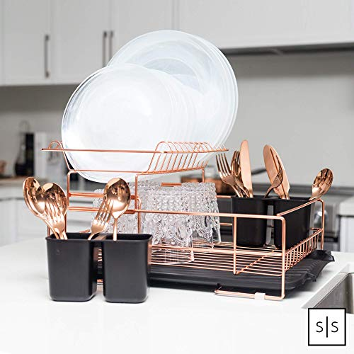 2 Tier Dish Drainer//Rack with Removable Drip Tray/&Cutlery Holder-Copper//RoseGold