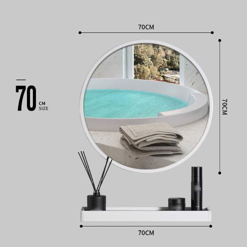 LXYPLM-WM Specchio Parete Metallo Bagno Specchio Rotondo con mensola Montaggio a Parete Specchio Grande Specchio Decorativo for Corridoio Camera da Letto Soggiorno B12052 Color : White, Size : 40cm