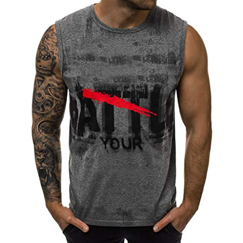 iHPH7 Vest Men Heavyweight Sleeveless Muscle T-Shirt Men Letter Printed Sports Vest Striped Splice Large Open-Forked Male Vest M 2- Gray ()