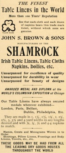 1893 Ad John S Brown & Sons Shamrock Irish Linens Household Decor Monograms - Original Print Ad from PeriodPaper LLC-Collectible Original Print Archive