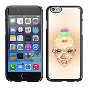 // PHONE CASE GIFT // Duro Estuche protector PC Cáscara Plástico Carcasa Funda Hard Protective Case for Apple Iphone 6 Plus 5.5 / Rainbow Mohawk Sexy Girl /