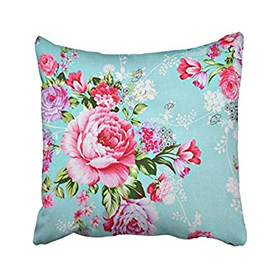 Shorping Zippered Pillow Covers Pillowcases 16X16 Inch vintage chic pink flowers floral decorative pillow Decorative Throw Pillow Cover ,Pillow Cases Cushion Cover for Home Sofa Bedding