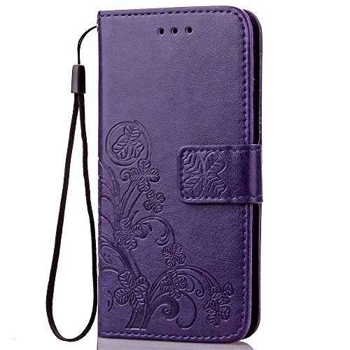 Fashion Floral Clover Embossed PU Leather Magnetic Flip Cover Card Holders & Hand Strap Wallet Purse Cover Case For Mobile Cell Phone (Motorola Droid Maxx 2/Moto X Play/X3 Lux) - Cell Phone Case For Motorola Maxx