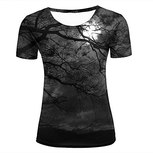 Dominichuer Womens Casual 3D Print Dark Series Night Moon and Dry Tree Pattern Summer Short Sleeve Crew Neck T-Shirts Novelty Couple Tees M ()