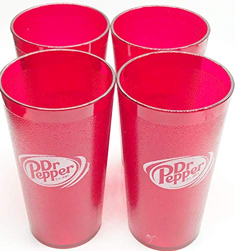 Dr. Pepper Logo Red Plastic Tumblers Set of 4-16oz