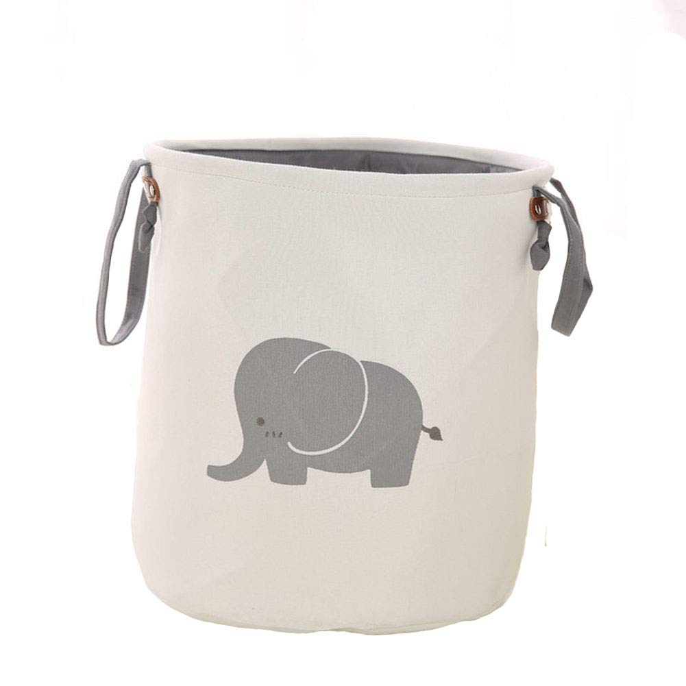 Super iMan Foldable Lined Storage Basket,Basket for Nursery,Baby Nursery, Large Laundry Basket for Kids Room,Toys Organizer (Elephant)