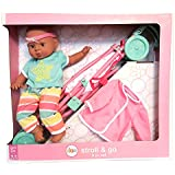"Circo Stroll & Go Folding Stroller with 14"" African American Baby Doll - 6 Piece Set"