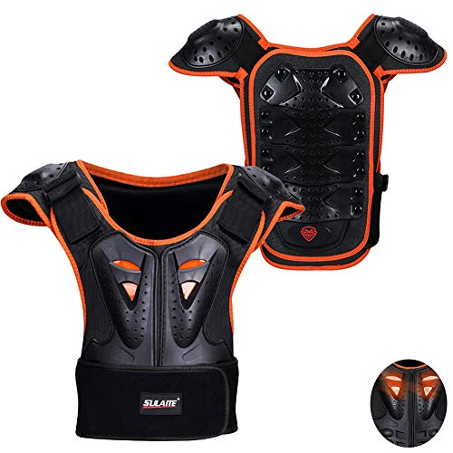 (Kids Sports Chest Back Spine Protector Vest, MLSice Children Anti-Fall Protective Gear Motorcycle Jacket Motocross Body Guard Vest for Cycling Skiing Riding Skateboarding)