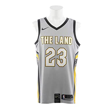 7cb2988aa NIKE Lebron James Cleveland Cavaliers City Edition Silver Swingman Jersey -  Men s Large