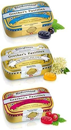 GRETHER'S Pastilles Variety Pack - Blackcurrant, Redcurrant and Elderflower - Sugar Free 60g/2.1oz - 3 Pack
