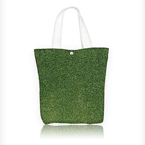 Reusable Cotton Canvas Zipper bag artificial turf green Tote Laptop Beach Handbags W11xH11xD3 INCH ()
