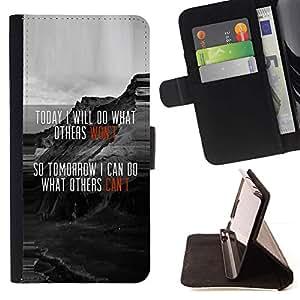 For Samsung Galaxy A3 Case , Divertido motivación Mensaje Hoy- la tarjeta de Crédito Slots PU Funda de cuero Monedero caso cubierta de piel